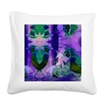 Abstract Rose Birds Square Canvas Pillow