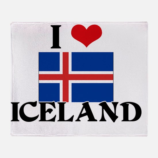 I HEART ICELAND FLAG Throw Blanket