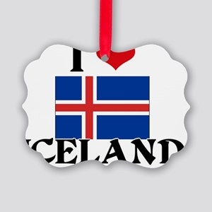 I HEART ICELAND FLAG Picture Ornament