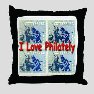 I Love Philately Throw Pillow