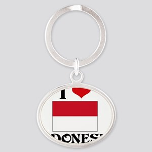 I HEART INDONESIA FLAG Oval Keychain