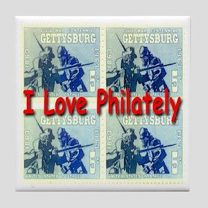I Love Philately Tile Coaster