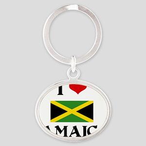 I HEART JAMAICA FLAG Oval Keychain