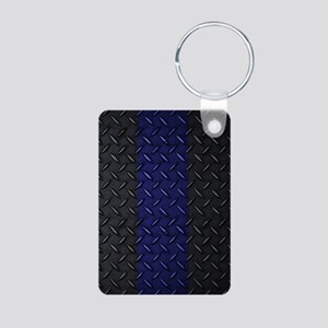 Police Diamond Plate Aluminum Photo Keychain