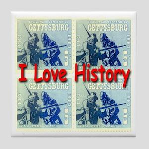 I Love History Tile Coaster