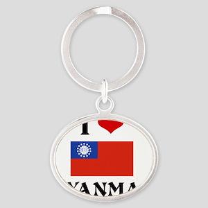 I HEART MYANMAR FLAG Oval Keychain