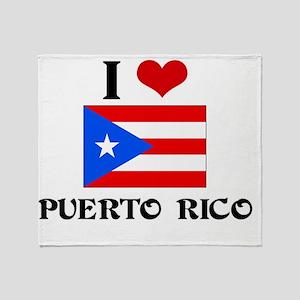 I HEART PUERTO RICO FLAG Throw Blanket