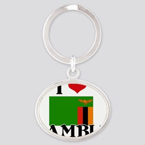 I HEART ZAMBIA FLAG Oval Keychain