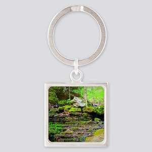 Waterfall Stream at Lost Valley Square Keychain