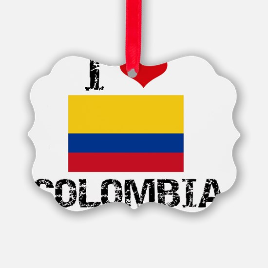 I HEART COLOMBIA FLAG Ornament