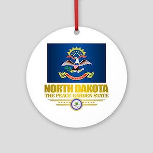 North Dakota Flag Round Ornament