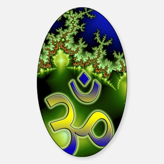Aum Om Neon Green Blue Fractal Sticker (Oval)