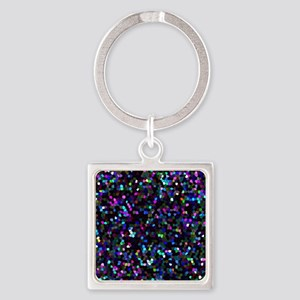 Mosaic Glitter 1 Square Keychain