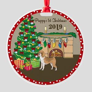2019 Beagles 1St Christmas Round Ornament