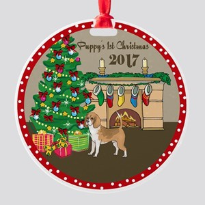 2017 Beagles 1St Christmas Round Ornament