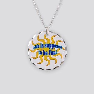 LG Life Is Supposed To Be Fu Necklace Circle Charm