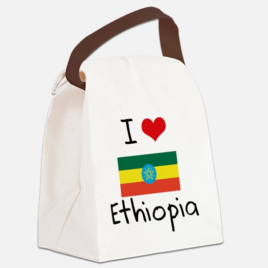 I HEART ETHIOPIA FLAG Canvas Lunch Bag
