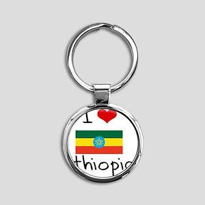 I HEART ETHIOPIA FLAG Round Keychain