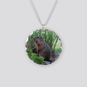 Groundhog Necklace Circle Charm