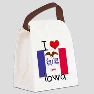 I HEART IOWA FLAG Canvas Lunch Bag