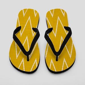 Golden Yellow Chevron Zigzags Flip Flops