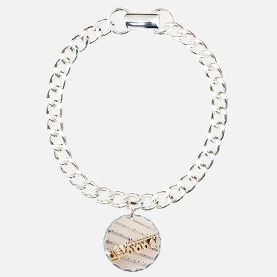 Flute and Music Charm Bracelet, One Charm