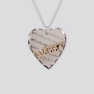 Flute and Music Necklace Heart Charm