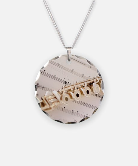 Flute and Music Necklace Circle Charm