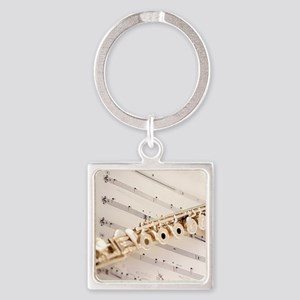 Flute and Music Square Keychain