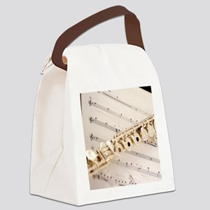 Flute and Music Canvas Lunch Bag