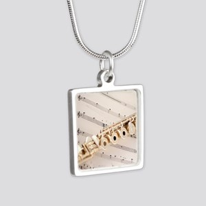 Flute and Music Silver Square Necklace