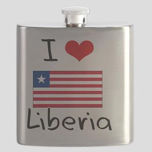 I HEART LIBERIA FLAG Flask