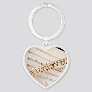 Flute and Music Heart Keychain
