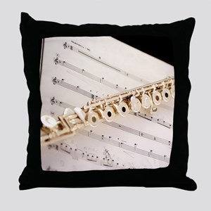 Flute and Music Throw Pillow
