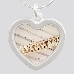 Flute and Music Silver Heart Necklace