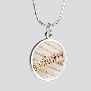 Flute and Music Silver Round Necklace