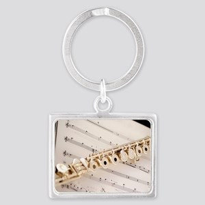 Flute and Music Landscape Keychain