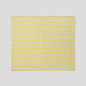 Chevron Zigzag Pattern Grey and Yell Throw Blanket