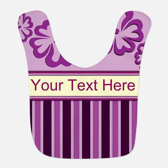 Purple And Pink Stripe Hibiscus Personalized Bib