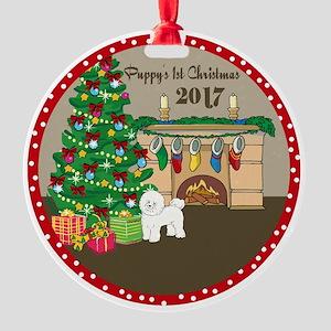 2017 Bichon Frise 1St Christmas Round Ornament