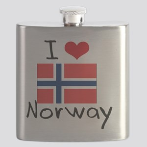 I HEART NORWAY FLAG Flask