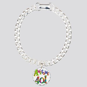 Awesome 40 Birthday Charm Bracelet, One Charm