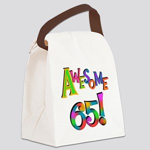 Awesome 65 Birthday Canvas Lunch Bag