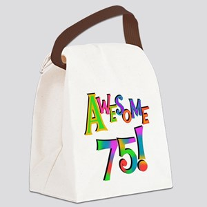 Awesome 75 Birthday Canvas Lunch Bag