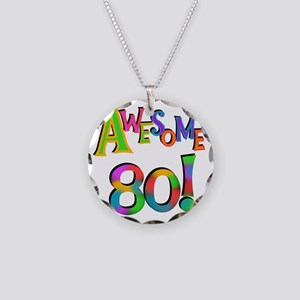 Awesome 80 Birthday Necklace Circle Charm