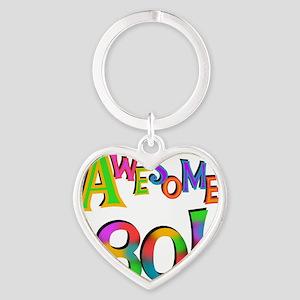 Awesome 80 Birthday Heart Keychain