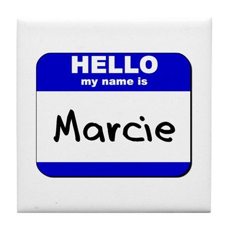 hello my name is marcie Tile Coaster
