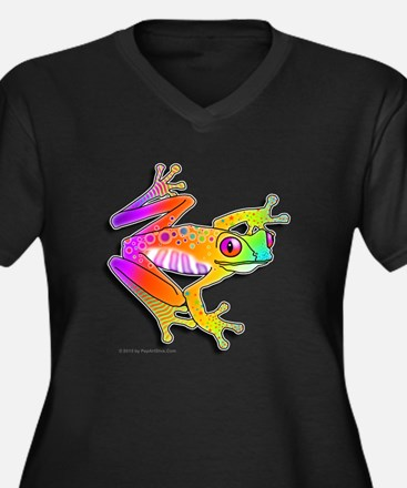 Pop Art FROG Women's Plus Size Dark V-Neck T-Shirt