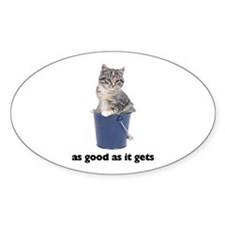 Tabby Cat Photo Oval Sticker