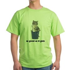 Tabby Cat Photo Green T-Shirt